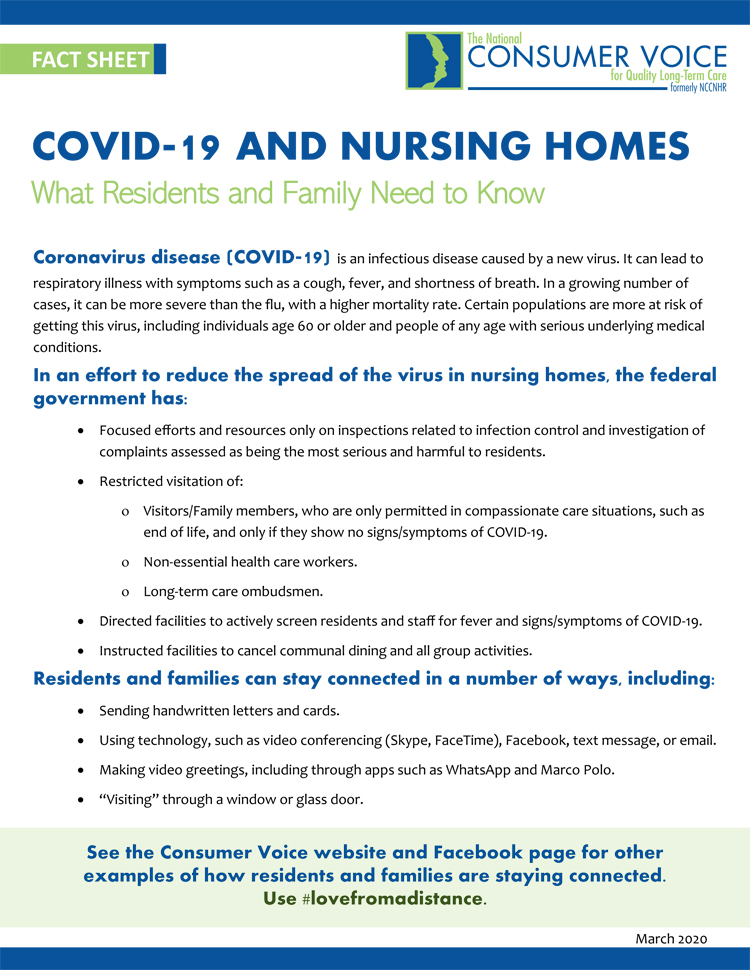 Covid-19 and Nursing Home face sheet