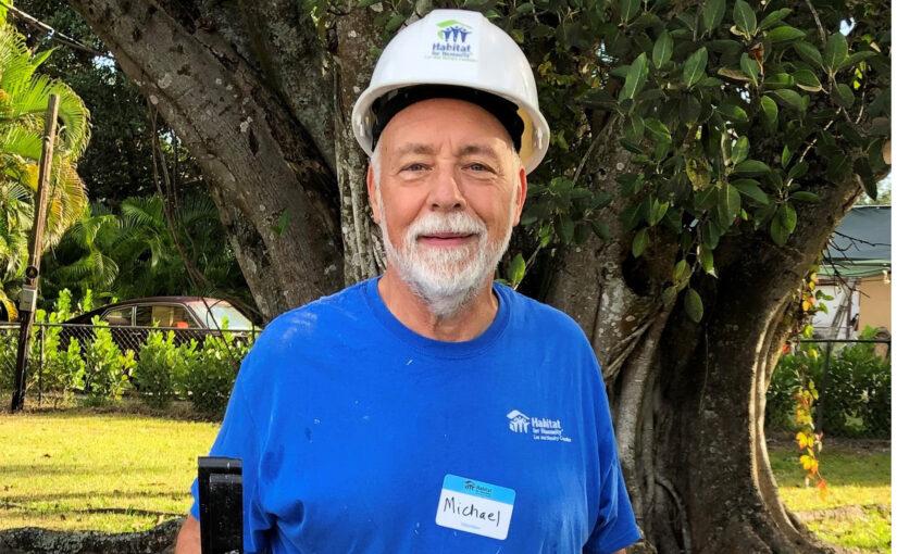 Older man volunteering
